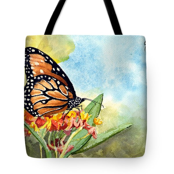 Tote Bag featuring the painting Monarch Butterfly by Sam Sidders