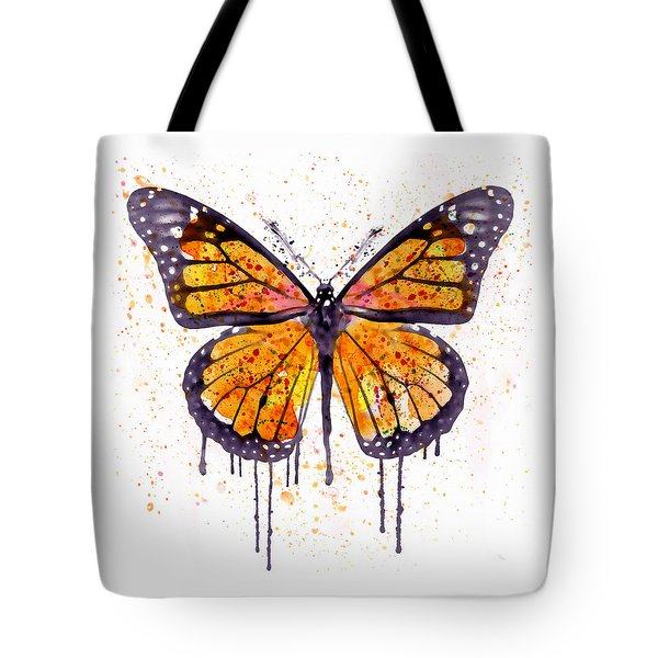 Monarch Butterfly Watercolor Tote Bag by Marian Voicu