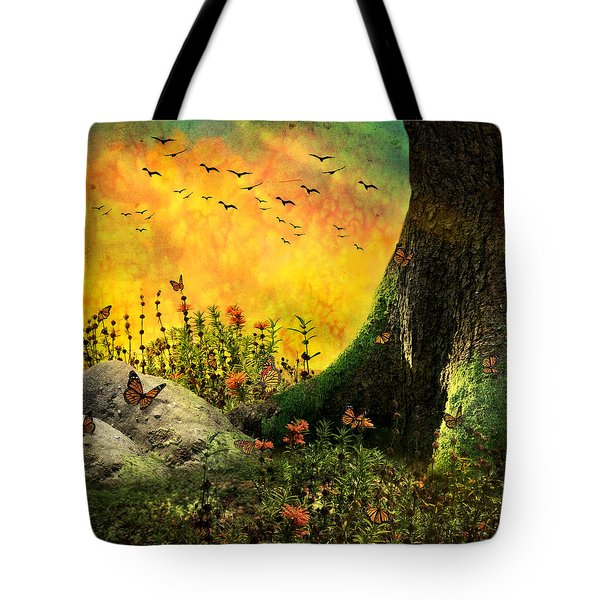 Monarch Meadow Tote Bag by Ally  White