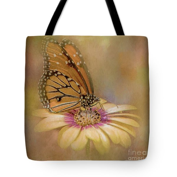 Tote Bag featuring the photograph Monarch On A Daisy Mum by Teresa Wilson