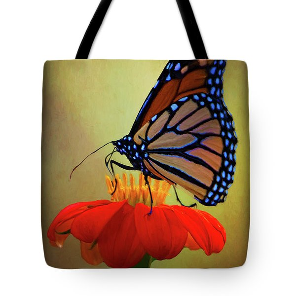 Tote Bag featuring the photograph Monarch On A Mexican Sunflower by Chris Lord