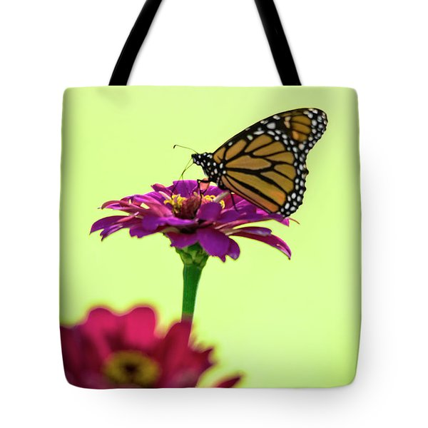 Monarch On A Zinnia Tote Bag