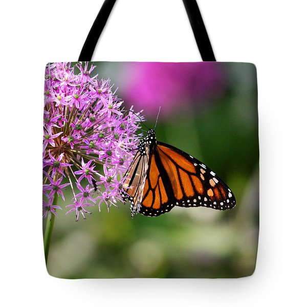 Monarch On Allium Tote Bag