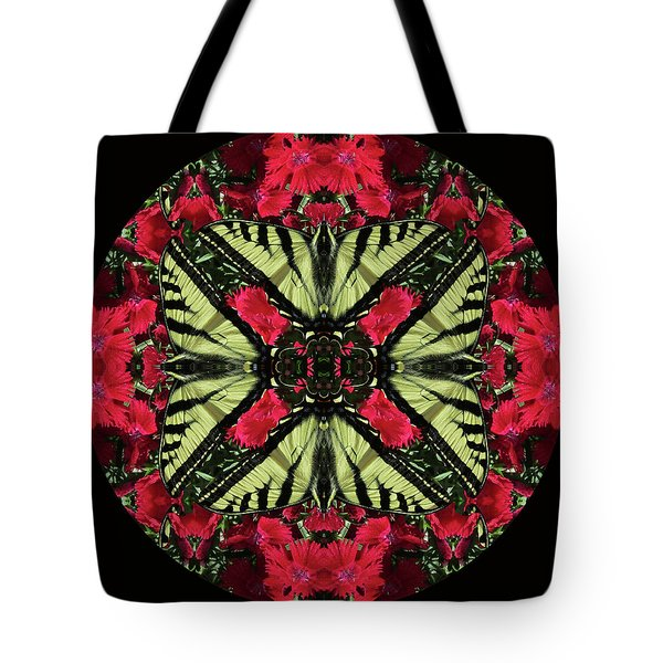 Monarch On Dianthus Kaleidoscope Tote Bag