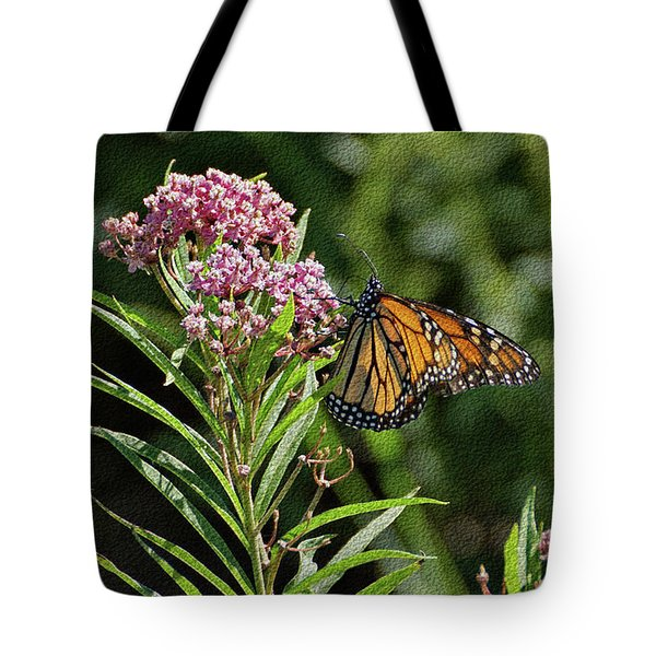 Tote Bag featuring the photograph Monarch On Milkweed by Sandy Keeton