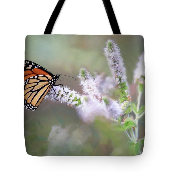 Tote Bag featuring the photograph Monarch On Mint 1 by Lori Deiter