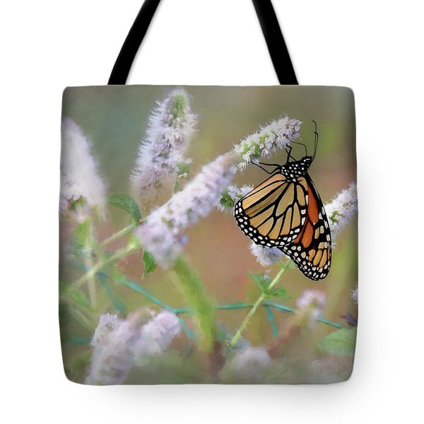 Tote Bag featuring the photograph Monarch On Mint 2 by Lori Deiter