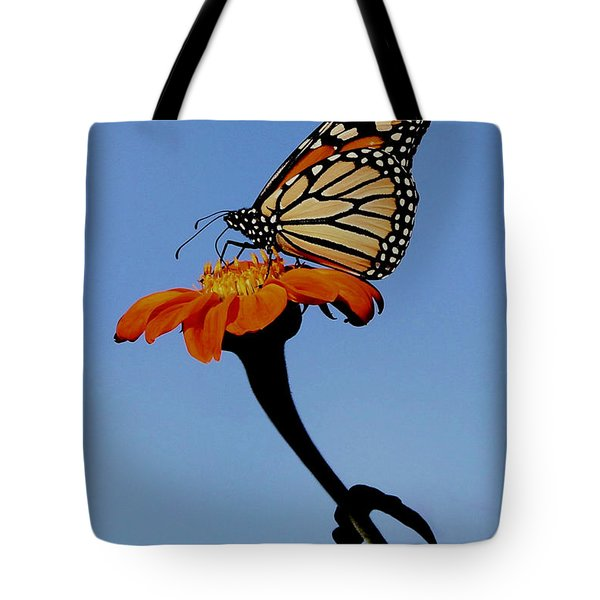 Monarch On Zinnia  Tote Bag