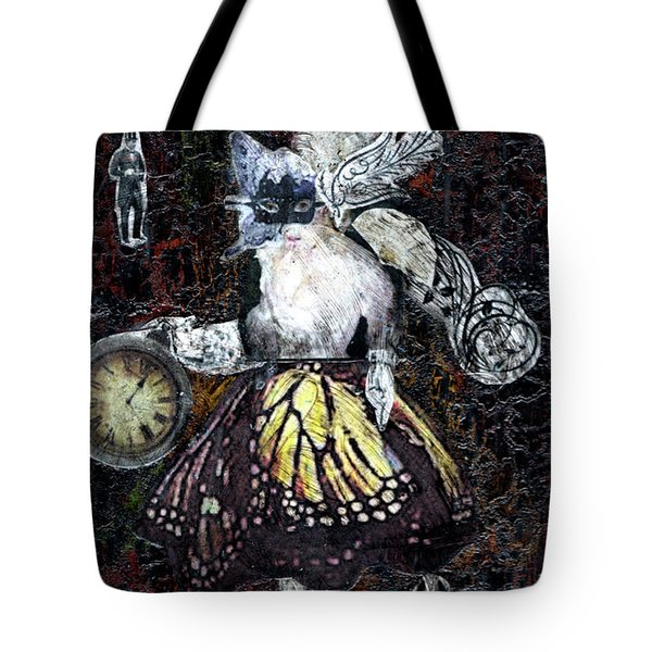 Tote Bag featuring the mixed media Monarch Steampunk Goddess by Genevieve Esson