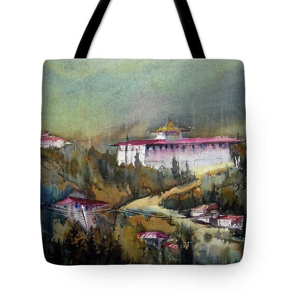 Tote Bag featuring the painting Monastery In Mountain by Samiran Sarkar