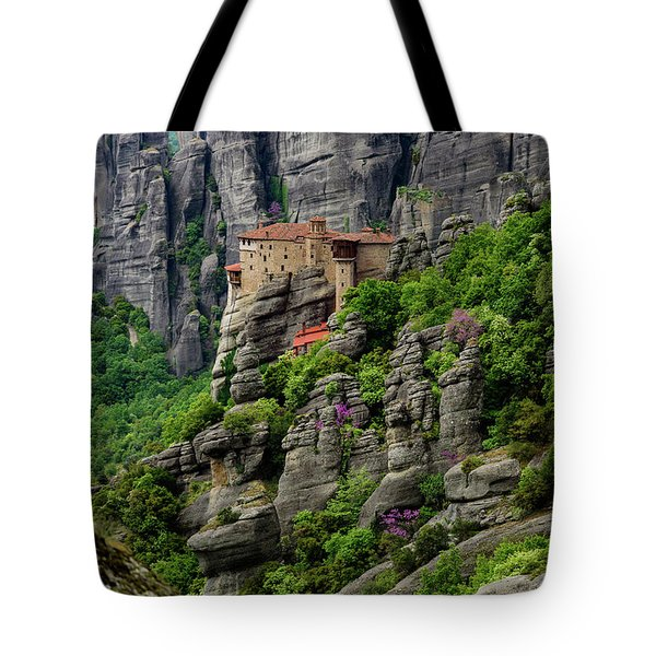 Monastery Of Saint Nicholas Of Anapafsas, Meteora, Greece Tote Bag