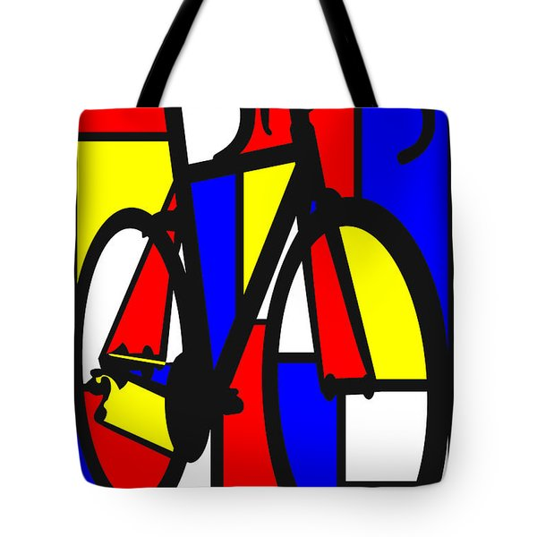Mondrianesque Road Bike Tote Bag