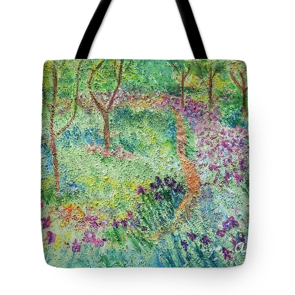 Monet Inspired Iris Garden Tote Bag