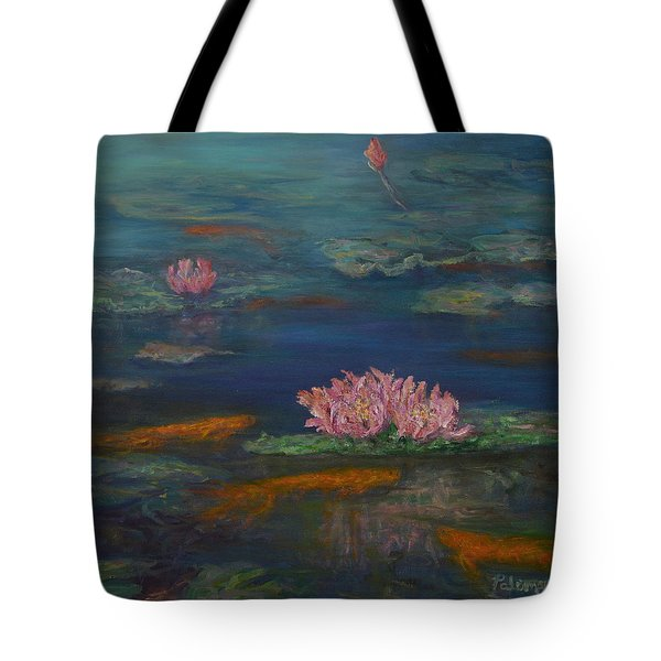 Monet Inspired Water Lilies With Gold Fish In A Pond Tote Bag