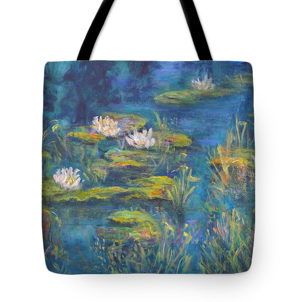 Monet Style Water Lily Marsh Wetland Landscape Painting Tote Bag