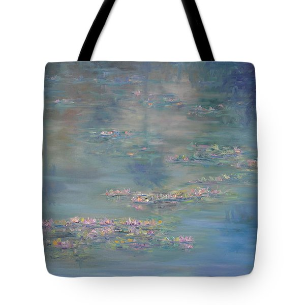 Monet Style Water Lily Peaceful Tropical Garden Painting Print Tote Bag