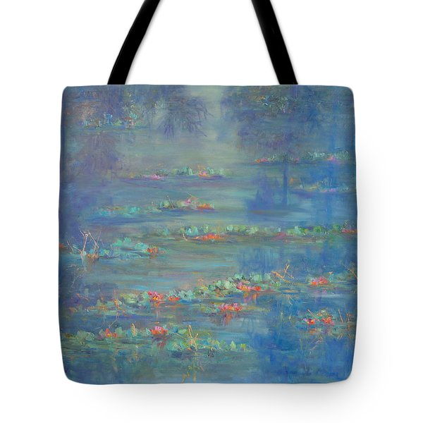 Monet Style Water Lily Pond Landscape Painting Tote Bag