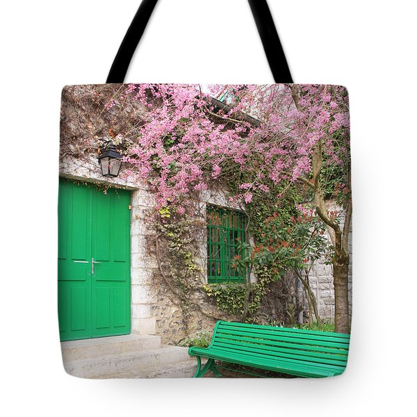 Monet's Bench Tote Bag by Catherine Alfidi