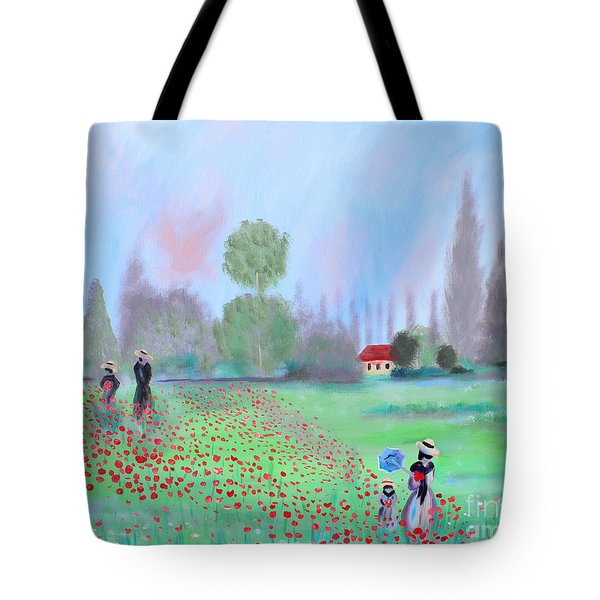 Monet's Field Of Poppies Tote Bag