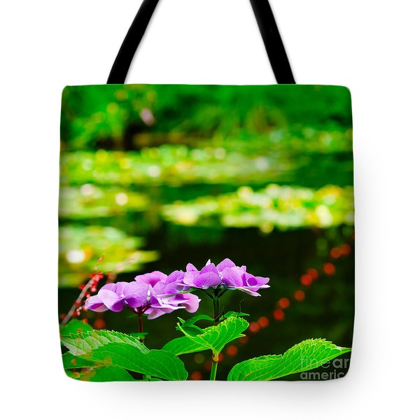 Tote Bag featuring the photograph Monet's Purple Lace Hydrangeas  by MaryJane Armstrong