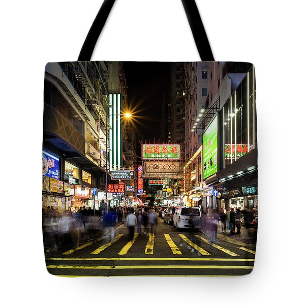 Tote Bag featuring the photograph Mong Kok Crosswalk by Geoffrey C Lewis