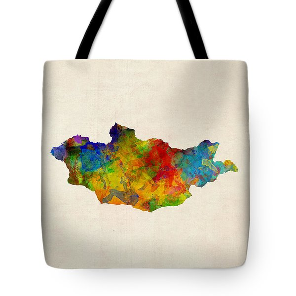 Tote Bag featuring the digital art Mongolia Watercolor Map by Michael Tompsett