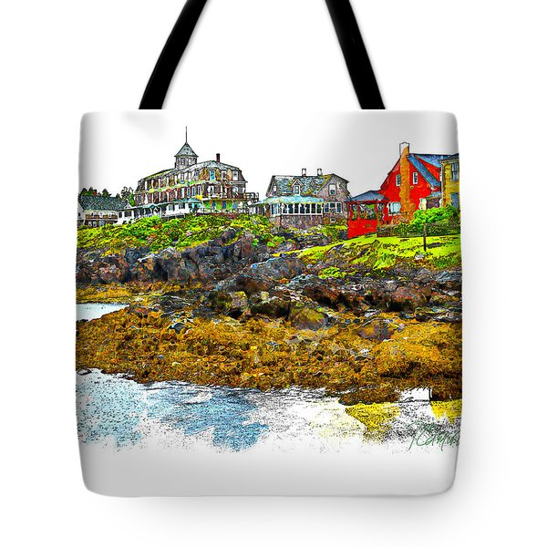 Tote Bag featuring the photograph Monhegan West Shore by Tom Cameron