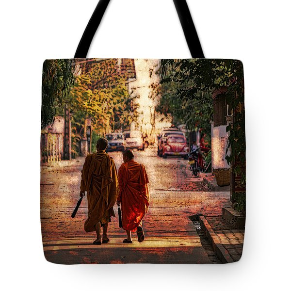 Tote Bag featuring the digital art Monk Mates by Cameron Wood
