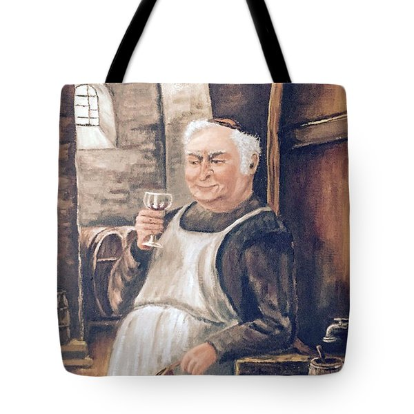 Monk With Wine Tote Bag