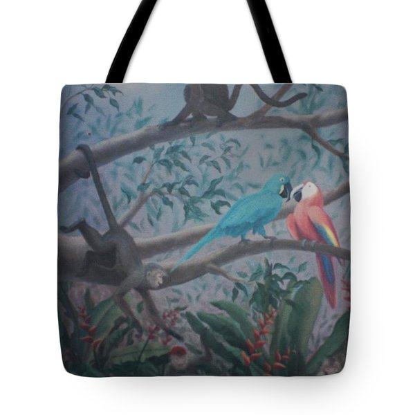 Monkey Artist Painting The Moon  Tote Bag