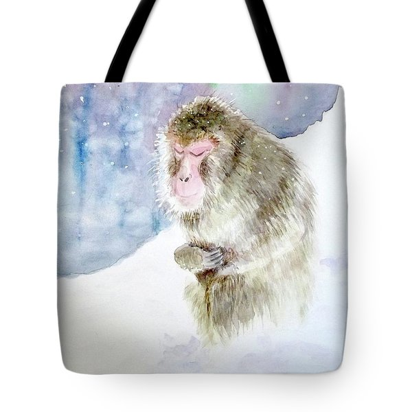 Monkey In Meditation Tote Bag by Yoshiko Mishina