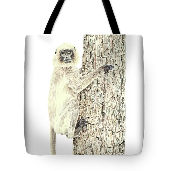 Tote Bag featuring the painting Monkey In The Tree by Elizabeth Lock