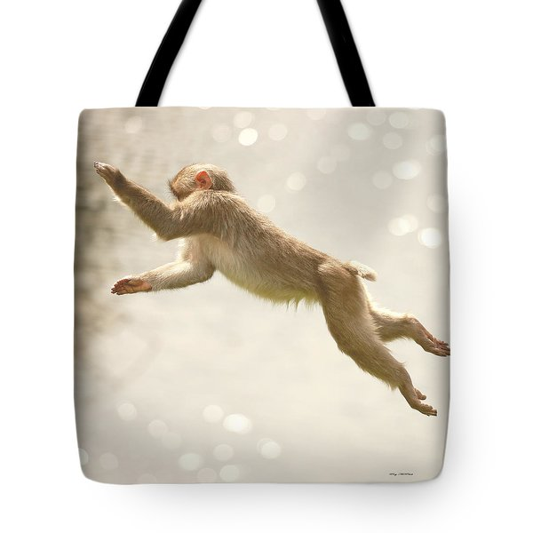Tote Bag featuring the photograph Monkey Jump by Roy  McPeak