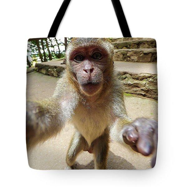 Monkey Taking A Selfie Tote Bag
