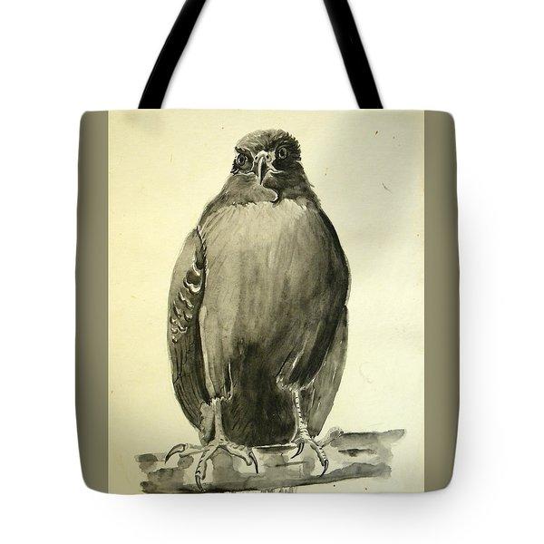 Monochromatic Hawk Tote Bag