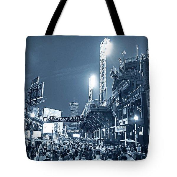 Monochrome Blue Nights Boston Ma Lansdowne St Fenway Park Game Night Tote Bag
