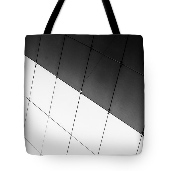 Monochrome Building Abstract 3 Tote Bag by John Williams