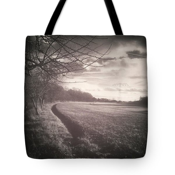 #monochrome #landscape  #field #trees Tote Bag by Mandy Tabatt