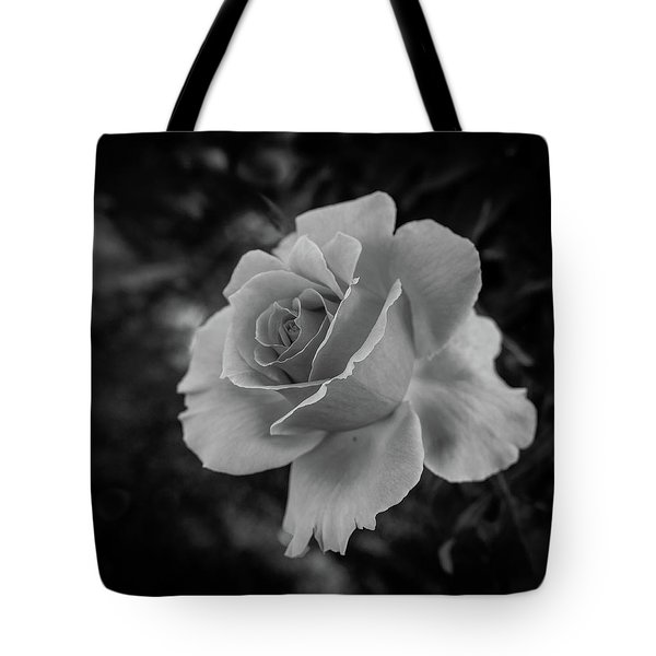 Monochrome Rose Macro Tote Bag