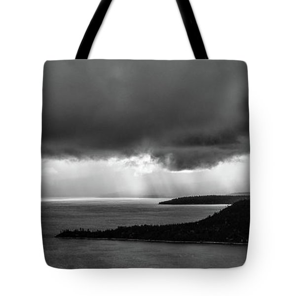 Monochrome Storm Panorama Tote Bag