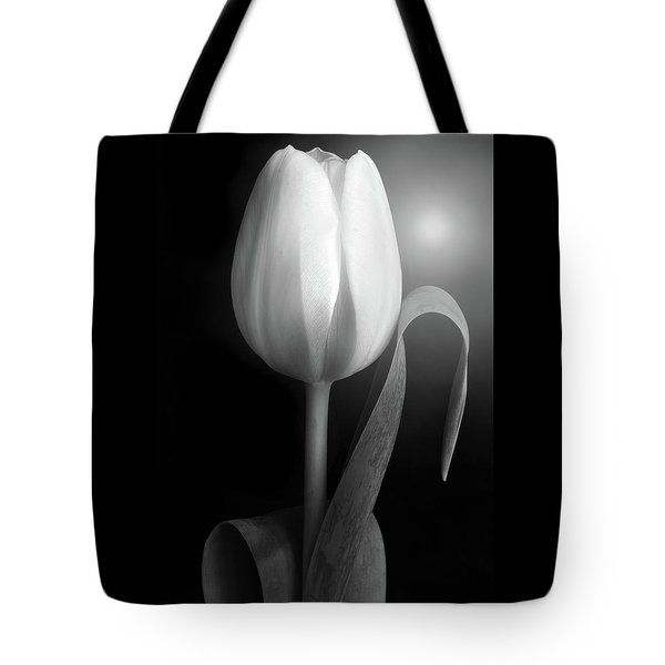 Tote Bag featuring the photograph Monochrome Tulip Portrait by Terence Davis