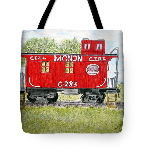 Monon Wood Caboose Train C 283 1950s Tote Bag