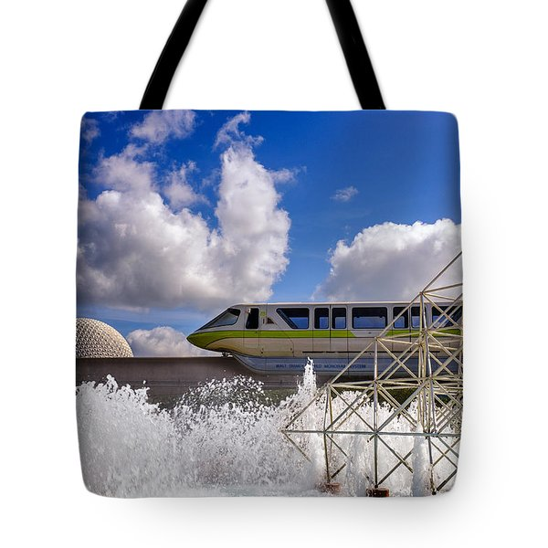 Monorail And Spaceship Earth Tote Bag