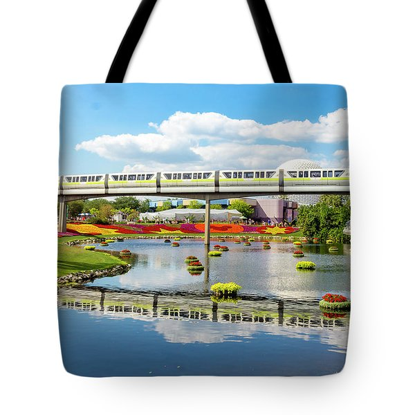 Monorail Cruise Over The Flower Garden. Tote Bag