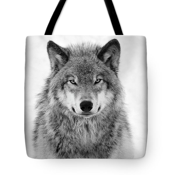 Monotone Timber Wolf  Tote Bag by Tony Beck