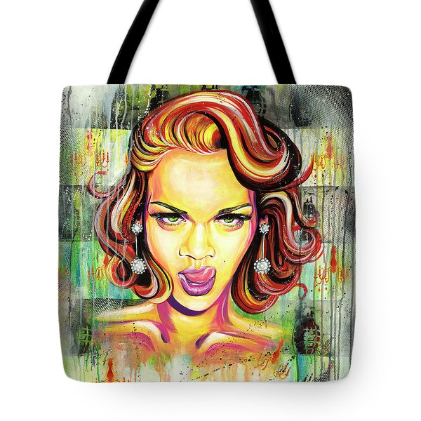 Monroe Gone Bad Tote Bag by Aramis Hamer
