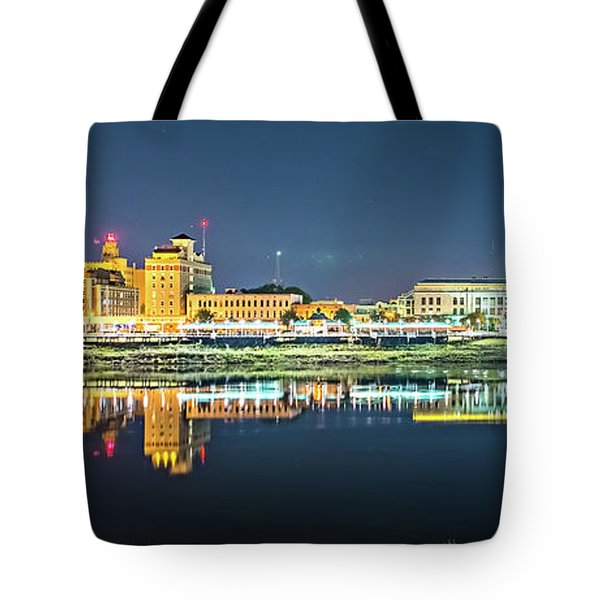 Monroe Louisiana City Skyline At Night Tote Bag