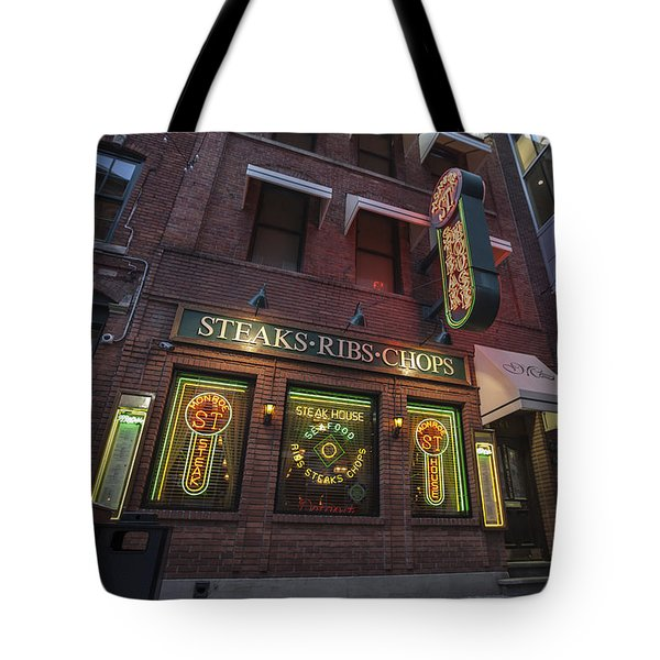 Tote Bag featuring the photograph Monroe St Steakhouse by Nicholas Grunas