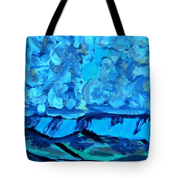 Tote Bag featuring the painting Monsoon Desert Storms IIi by Carolina Liechtenstein