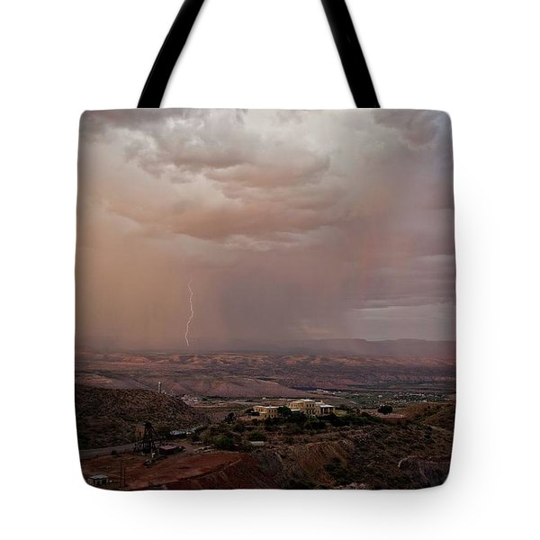 Tote Bag featuring the photograph Monsoon Lightning And Rainbow by Ron Chilston